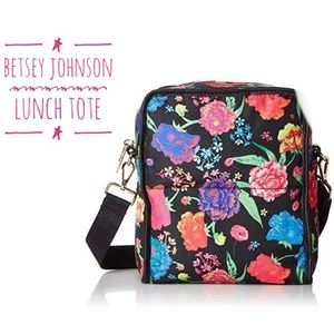 Betsey Johnson Black floral print Lunch Tote